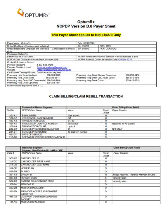 Optumrx Bin 610279 Payer Sheet
